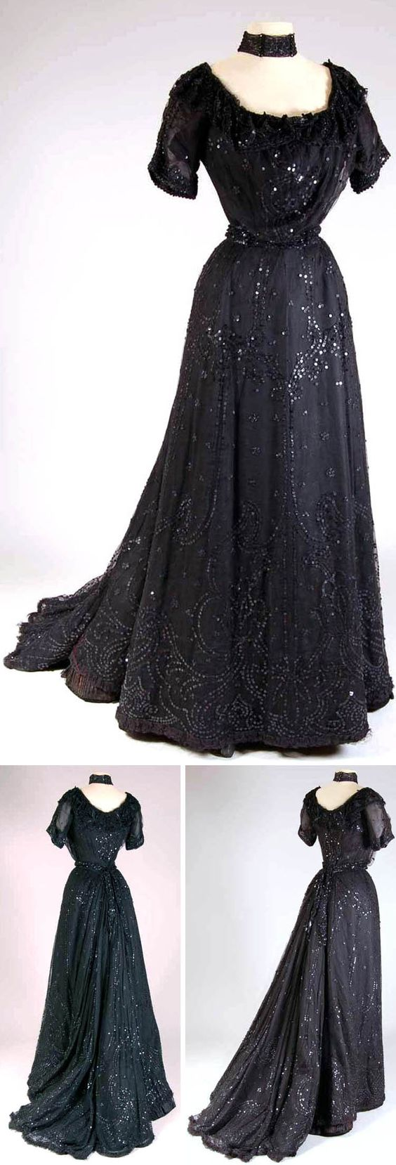 Dress ca. 1900-05. Silk satin, tulle, beads, sequins, chenille. Three pieces: bodice, skirt, belt. Bodice lined in brown cotton, skirt lined in black wool. Dress is poorly put together; it was probably made quickly for an event, with tulle sewn onto an old satin gown. Mode Museum, Antwerp