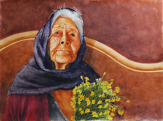new watercolor portrait of indigenous woman in Mexico