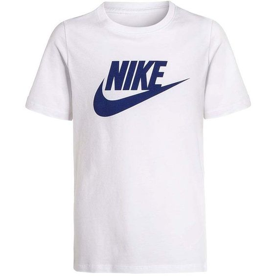 Nike Performance Print T-shirt white/deep royal blue ($23) ❤ liked on Polyvore featuring tops, t-shirts, white top, print top, royal blue t shirt, print tees and pattern t shirt