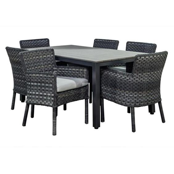 BeachCraft Canvas Granite 7-Piece Dining Set in Granite:
