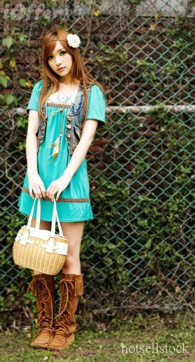 Boots Dress Flower Turquoise Dress Hippy Look Preteen Tween Clothing Tween Fashion