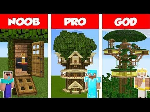 Minecraft Noob Vs Pro Jungle Tree House Challenge In Minecraft Animation Minecraft Designs Tree House Minecraft Jungle House