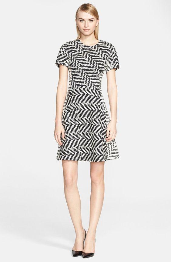 Chevron Jacquard Fit & Flare Dress