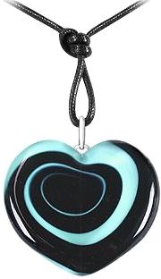 Heart pendant with an optical effect in colorful, swirling glass for a unique effect.