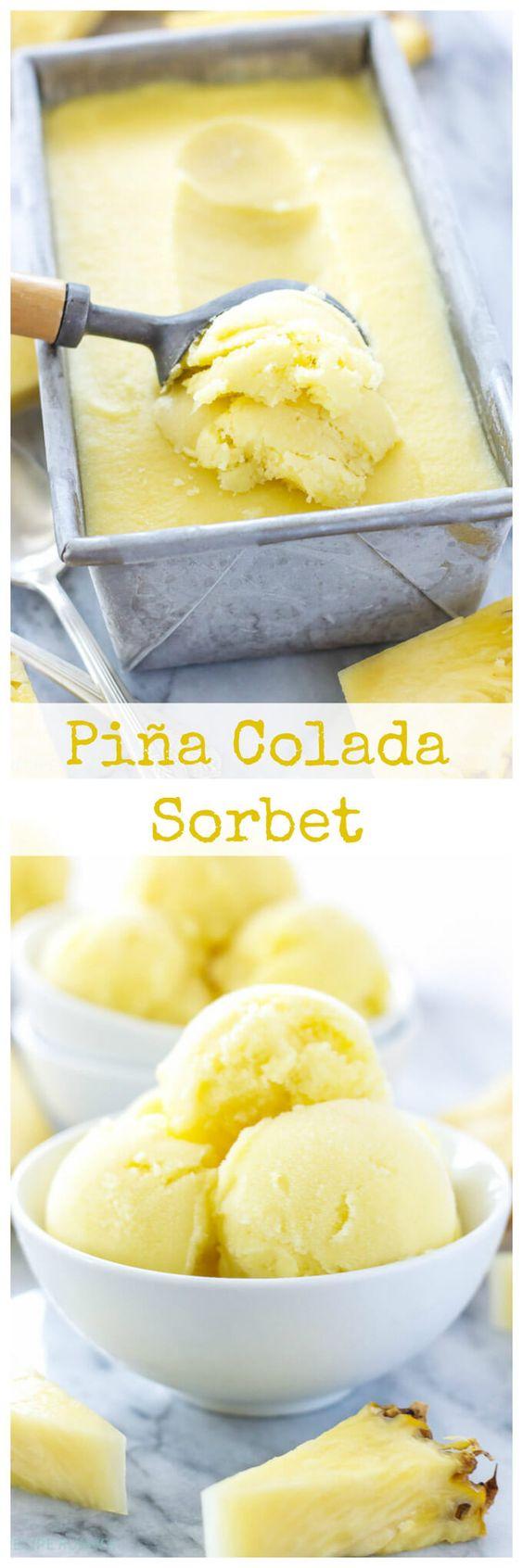 Piña Colada Sorbet | Turn your favorite tropical cocktail into a delicious frozen sorbet!