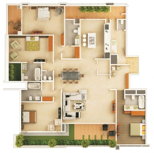 Remarkable 1000 Images About 3d Floor Plans On Pinterest Bedroom Apartment House Floor Plan In 2d Pics House Floor Plans Home Design Software House Flooring