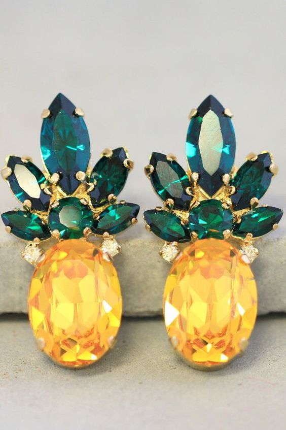 Pineapple EarringsSwarovski stud EarringsYellow Emerald by iloniti