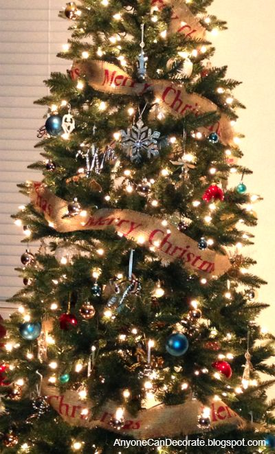 Diy burlap christmas tree garland the ribbon christmas Christmas tree ribbon garland