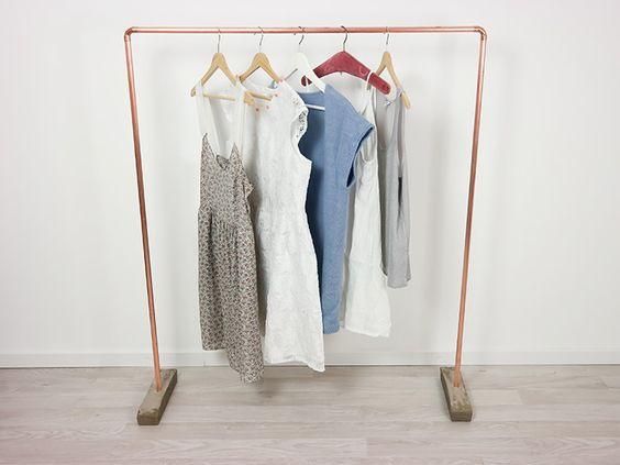 Tutoriel DIY: Faire une tringle à vêtements en cuivre et béton via DaWanda.com