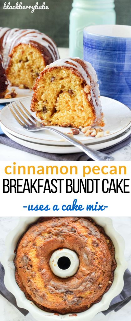Cinnamon Pecan Breakfast Bundt Cake   Uses a box of cake mix and pudding, and an easy streusel. Great for breakfast or brunch!