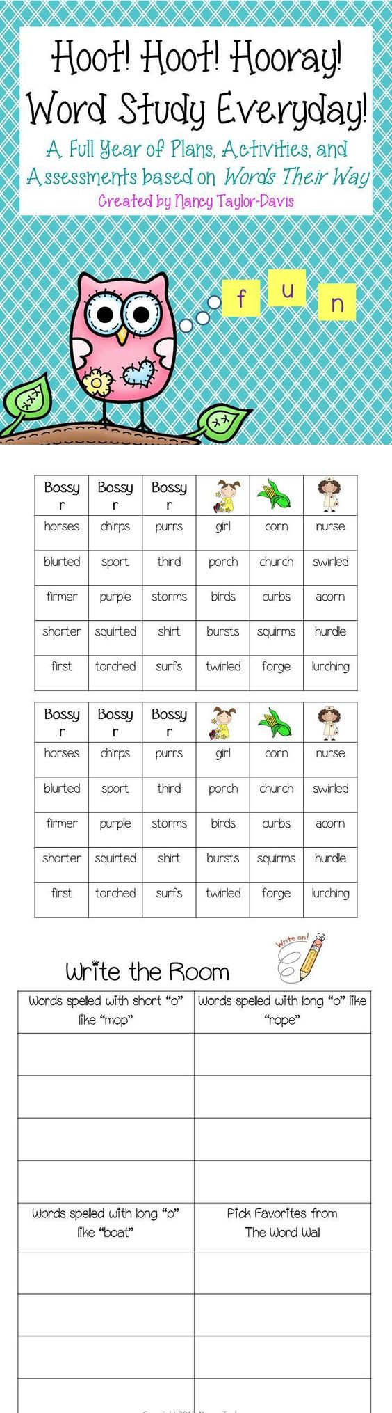 Writing Word Taylor ~ Hoot hooray words their way activities pictures