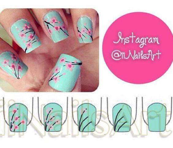 Cherry Blossom Nail Art, Floral, Cute, Summer/spring, Love