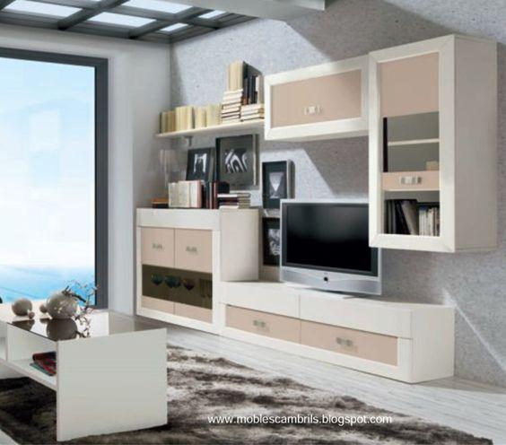 Muebles de comedor conjunto modular en blanco y vis n for Conjunto muebles comedor