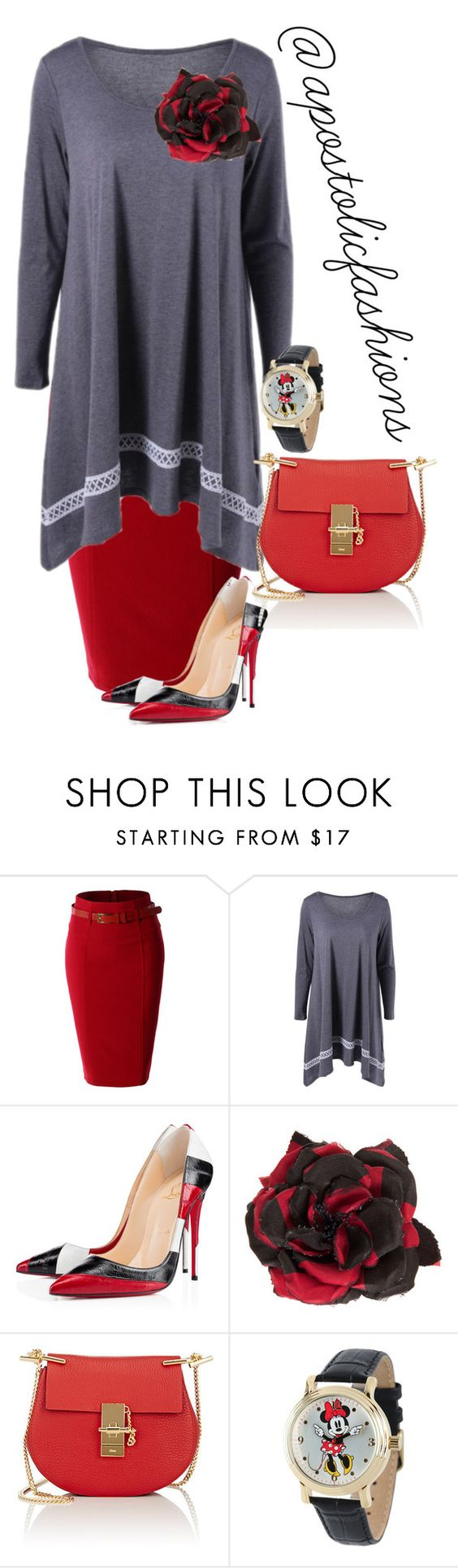 """""""Apostolic Fashions #1471"""" by apostolicfashions on Polyvore featuring LE3NO, Christian Louboutin, Alessandra Rich, Chloé, Disney, modestlykay and modestlywhit"""