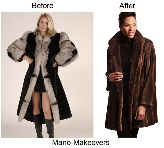 Fur restyle from old mink and fox coat to reversible sheared mink