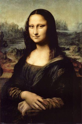 Leonardo Da Vinci: Mona Lisa. De Mona Lisa, zeer bekend. Er is sprake van een licht-donker contrast. In het gezicht en in de hals is veel licht, het gewaad wat ze draagt is donkerder en ook de achtergrond is grauw. Het gezicht is erg precies in beeld gebracht en het hele geheel is ook super realistisch. Centrale compositie.