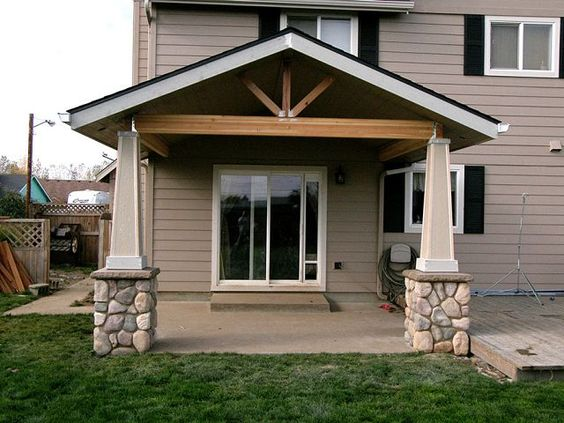 Open gable patio cover with stone post bases http for Open porch roof designs