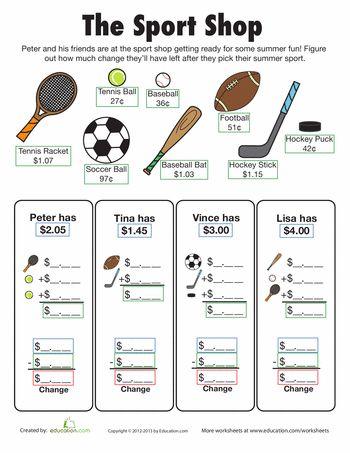 math worksheet : make change sport shop  sports shops pet store and worksheets : Make Math Worksheet