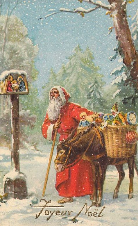 Antique St. Nicholas postcard... St Nicholas pauses to pray,at a small nativity.