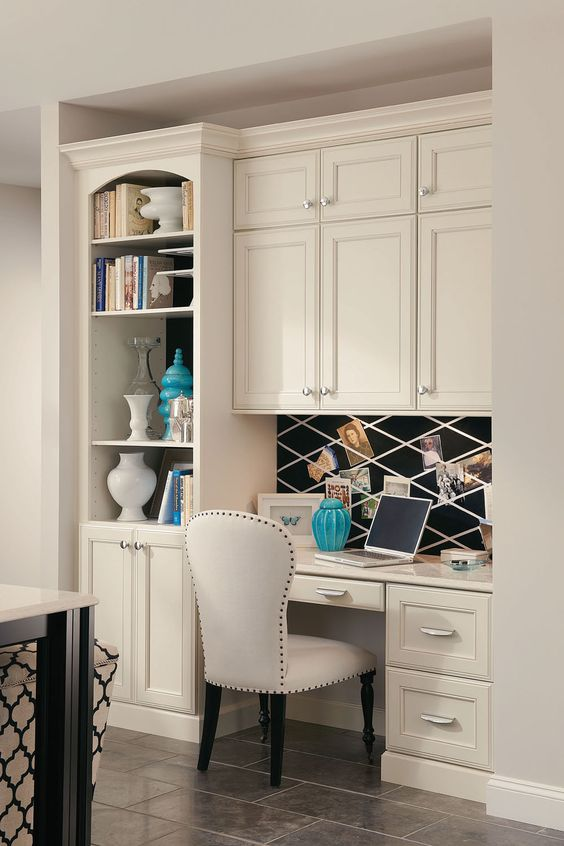 Desks bookcases and home office on pinterest for Kitchen office nook
