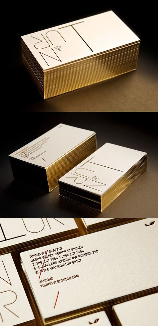 Business card design with golden leaf edge paint and gold foil ...