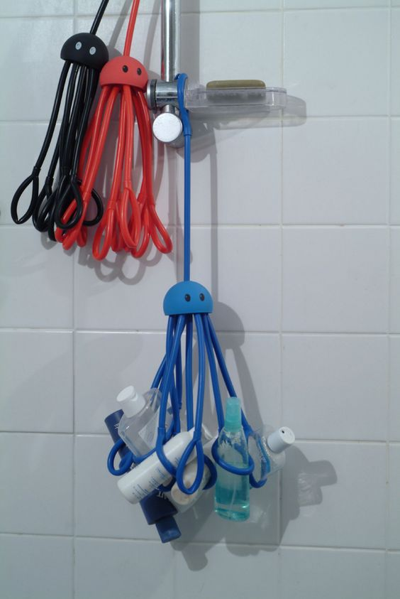 When I remodeled my bathroom, I added a niche to the shower surround so I had a place to keep my shower gel, shampoo, conditioner, etc. But users without such a niche may find themselves looking for a shower caddy. The Shower Squid (also called the Shower Octopus) was designed