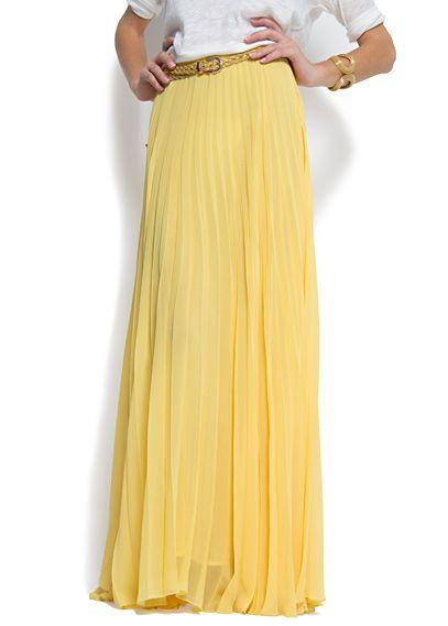 yellow chiffon skirt