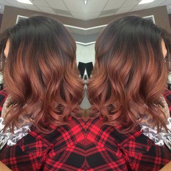 Rose gold balayage and haircut done by hairstylist Ana.