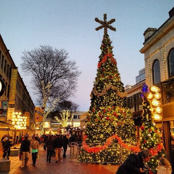 Beautiful photo of Faneuil Hall Marketplace taken by @Christine Gooch on Instagram www.instagram.com/visitboston! #holiday #bostonusa #boston