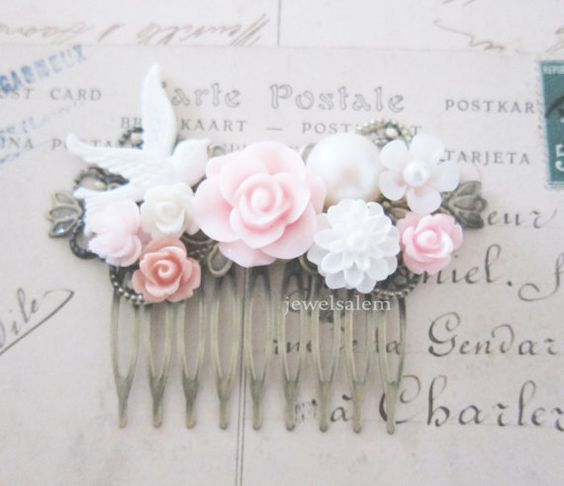 Light Pink Wedding Hair Comb Bridal Hair Accessories Blush White Flower Bridesmaids Hair Pin Romantic Soft Pastel Dreamy Vintage Style PM