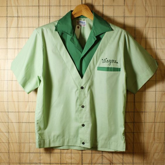 Hilton/60sUSA製ビンテージ古着 グリーン×ライトグリーン フロッキープリント ボーリングシャツ・半袖シャツ/メンズSサイズ