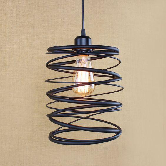 Noir Lampe Suspendue Éclairage Industriel Fer Métal Vintage Lampe ...