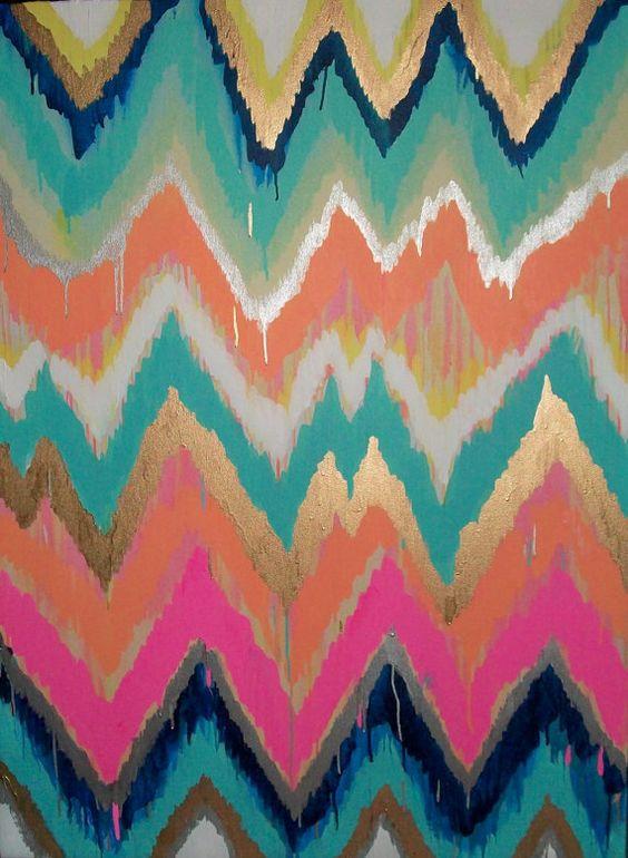 .: Zig Zag, Ikat Chevron, Iphone Wallpaper, Chevron Paintings, Custom Ikat, Chevron Art, Art Painting
