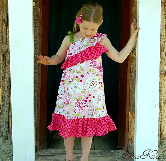fairyatle frocks and lollipops :: sweetkid3, andrea jonas, savannah peasant style dress, girl, baby, infant, toddler, botique, style, ruffle, one shoulder, shoulder bow, ruffle sleeve, ruffle shoulder, bows, party, special occasion, birthday, sewing, inst