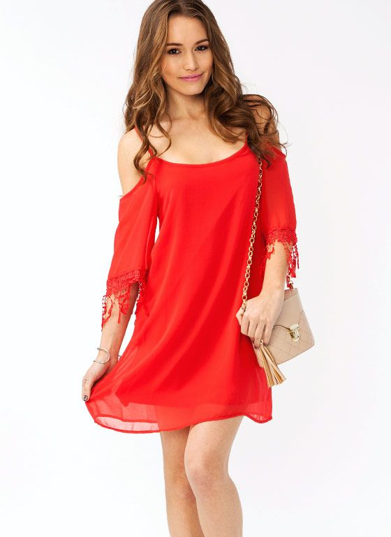 Not only will this fully lined, non-stretchy dress make you look totally pretty, but the crochet trim and shift silhouette are totally on trend.