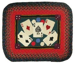 "Old hooked rug ....""playing cards"" rug"