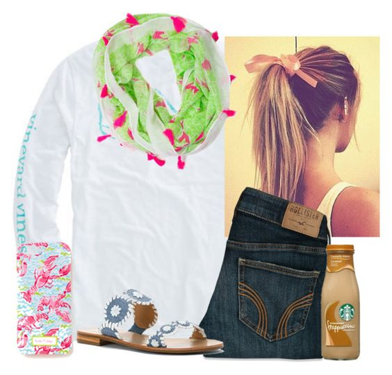"""""""Even though it isn't could outside, it is still very Springy:)"""" by flroasburn on Polyvore featuring Hollister Co., Jack Rogers and Lilly Pulitzer"""