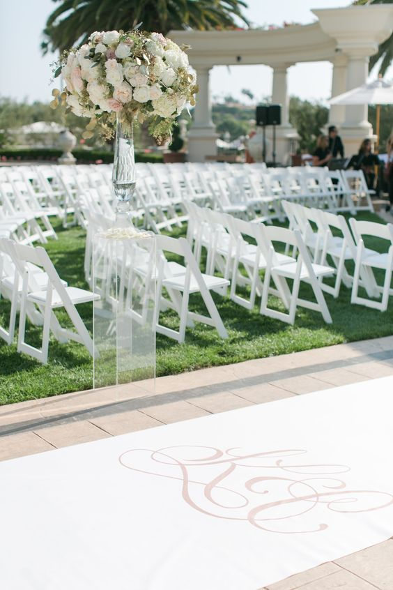 Simply elegant monogram aisle runner by The Original Runner Co.  www.originalrunners.com / event design by A Good Affair