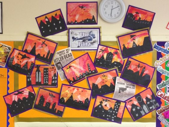 A bright and colourful art display linked to the Blitz.