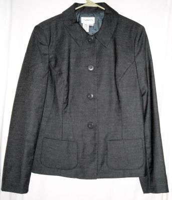"Chadwicks Dark Gray 100% Wool Blazer Fits up to 40"" Bust Size 12 T Free Shipping Price:US $17.99"
