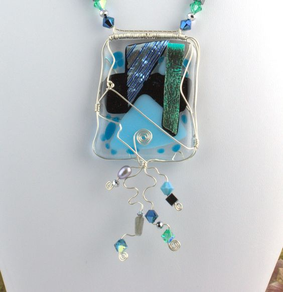 Geometry of Fused Blues Necklace by DivaKreations on Etsy