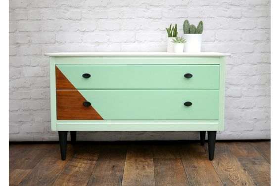 #MidCentury Sideboard Painted In Mint Green & White With Black Accents | Vinterior London