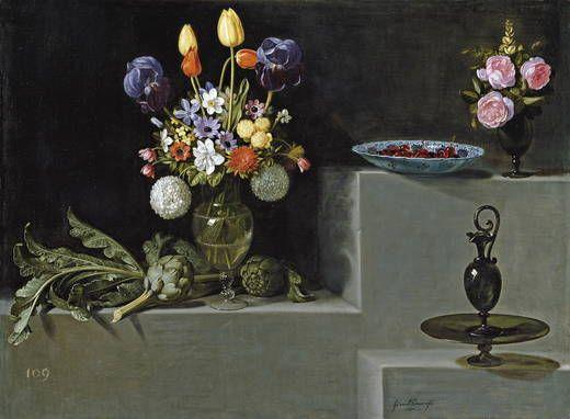 Juan van der Hamen y León (Madrid, 1596-1631), Still life with Artichokes, Flowers and Glass Vessels, 1627, 81x110cm, Museo Nacional del Prado.