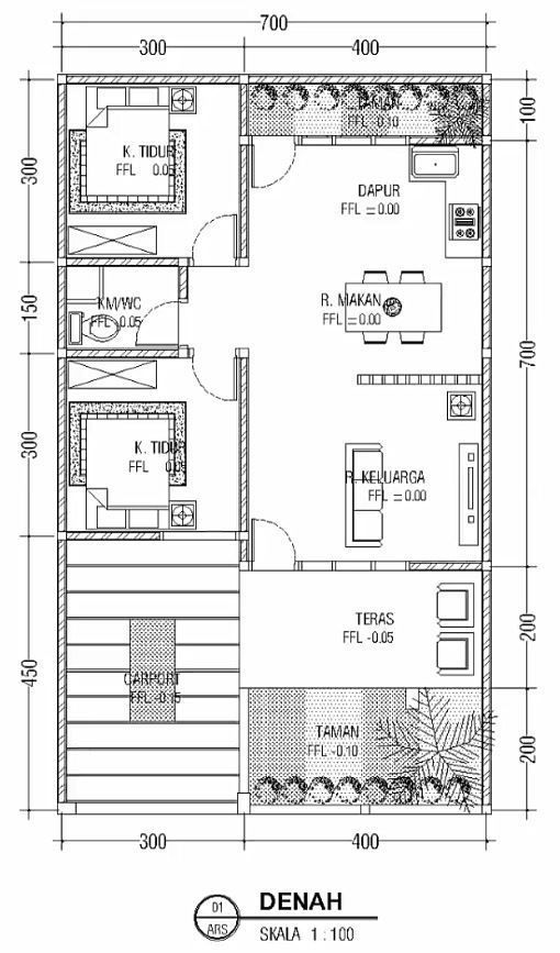 Minimalist Floor Design One Floor House 7x12m Home Design With Plansearch Floor Design House House Plans