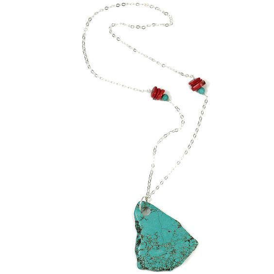 Turquoise Slap and Coral Necklace - $48.00 : #handpicked