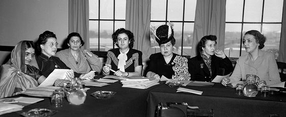 In this picture (original caption): At Hunter College, the Sub-commission on the Status of Women meets.  From left to right are: Mrs. Hansa Mehta, India; Mrs. Way Sung New, China; Miss Fryderyka Kalinowski, Poland; Miss Angela Jurdak, Lebanon; Miss Minerva Bernardino, Dominican Republic; Mrs. Marie Helene Lefaucheux, France; and Mrs. Bodgil Begtrup, Denmark and Chairman of the committee. Photo Date: May 8th, 1946 Photo credit: UN Photo