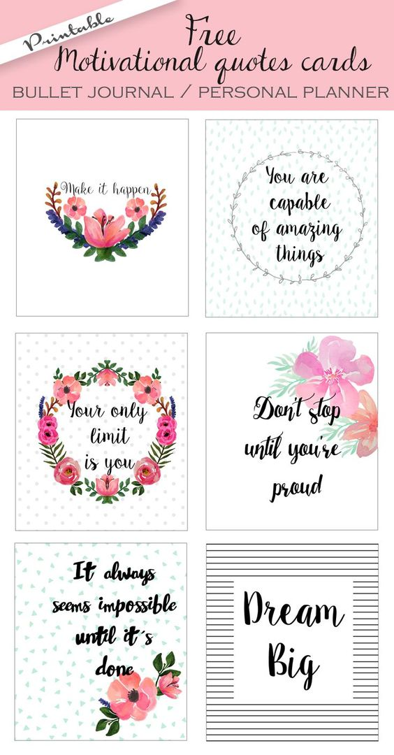 Free printable bullet journal cards. Personal planner ...