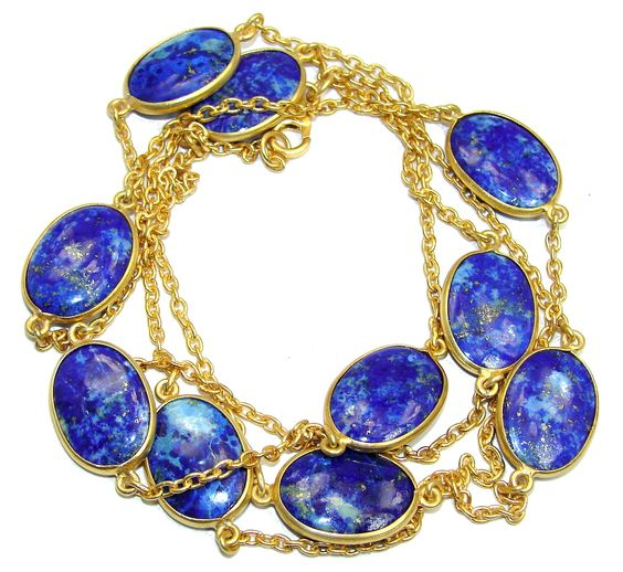 $82.95 36+inches+Genuine+Lapis+Lazuli++Gold+over+Sterling+Silver+Necklace at www.SilverRushStyle.com #necklace #handmade #jewelry #silver #lapislazuli