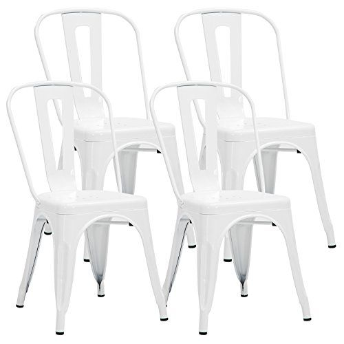 Mecor Metal Dining Chair Indoor Outdoor Use Stackable Side Kitchen Chairs Back White Set Of 4 Metal Side Chair Dining Chairs Side Chairs