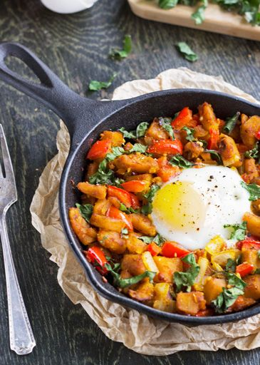 Squash, Pepper & Kale Hash - A healthy, vegetarian breakfast or dinner ...